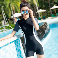 New 2018 One Piece Swimsuit Women Beach Large Size Short Sleeve Swimwear Female Zip Swimming Boxer