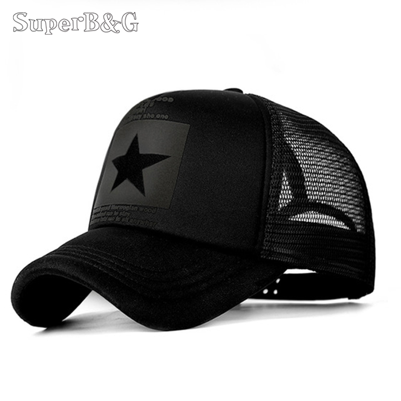 SuperB&G 2019 Fashion Summer Baseball Cap Women Men Mesh Breathable Snapback Cap Unisex Adjustable Sport Hats Dad Hat Bone(China)