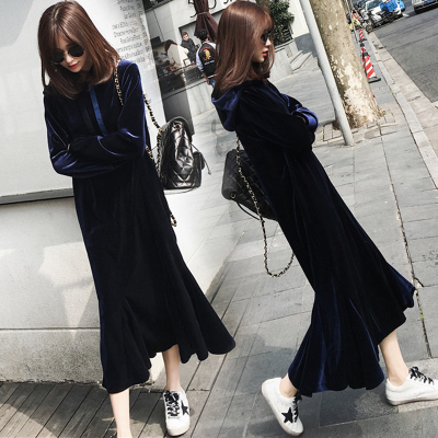 Pregnant women in winter 2017 Korean fashion in the long section of pregnant women dress was thin plus velvet thick dress pregnant women dress new fashion korean version fall