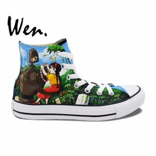Wen Design Custom Hand Painted Shoes Anime Sneakers Princess Mononoke Castle In The Sky High Top Women Men's Canvas Sneakers