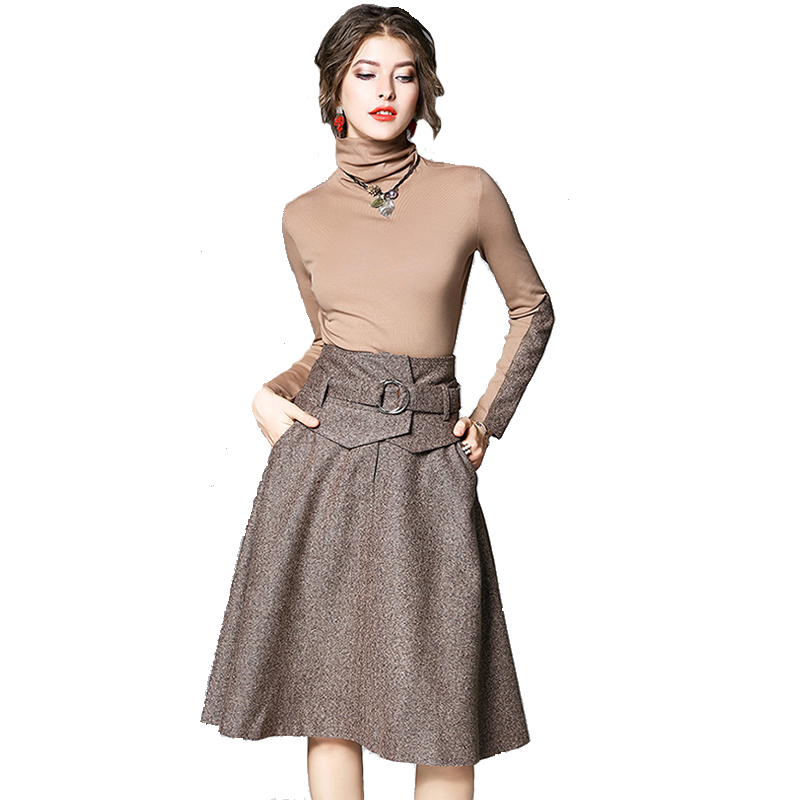 Women Spring Style Casual Woolen Linen Turtleneck Tops And Midi Sashes Skirt Feminine PFemale Office Suit Sets Hot Dress Sets