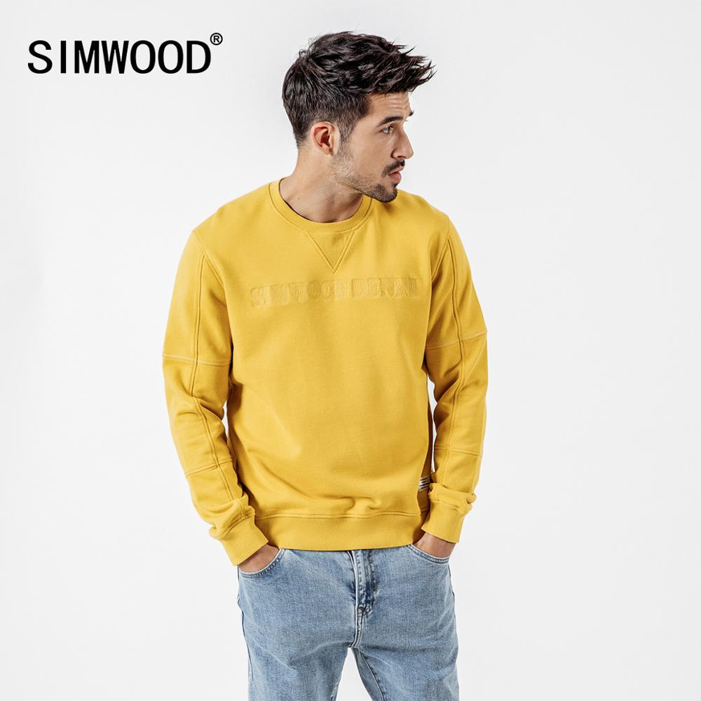 Image 2 - SIMWOOD spring New Hoodies Men Embroidery Letter Sweatshirt Male O  neck High Quality Brand Clothing 190121Hoodies