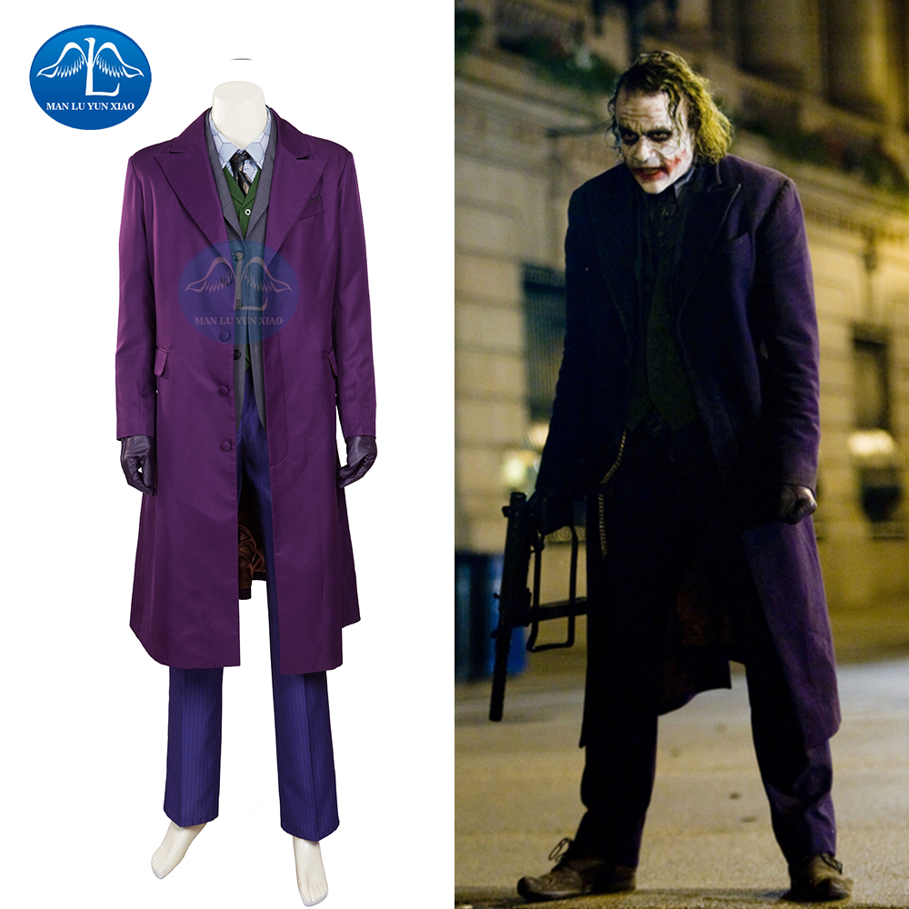 MANLUYUNXIAO Batman The Dark Knight Joker Costume Batman Joker Suit Halloween Cosplay Movie Hero Costume Full Set Custom Made