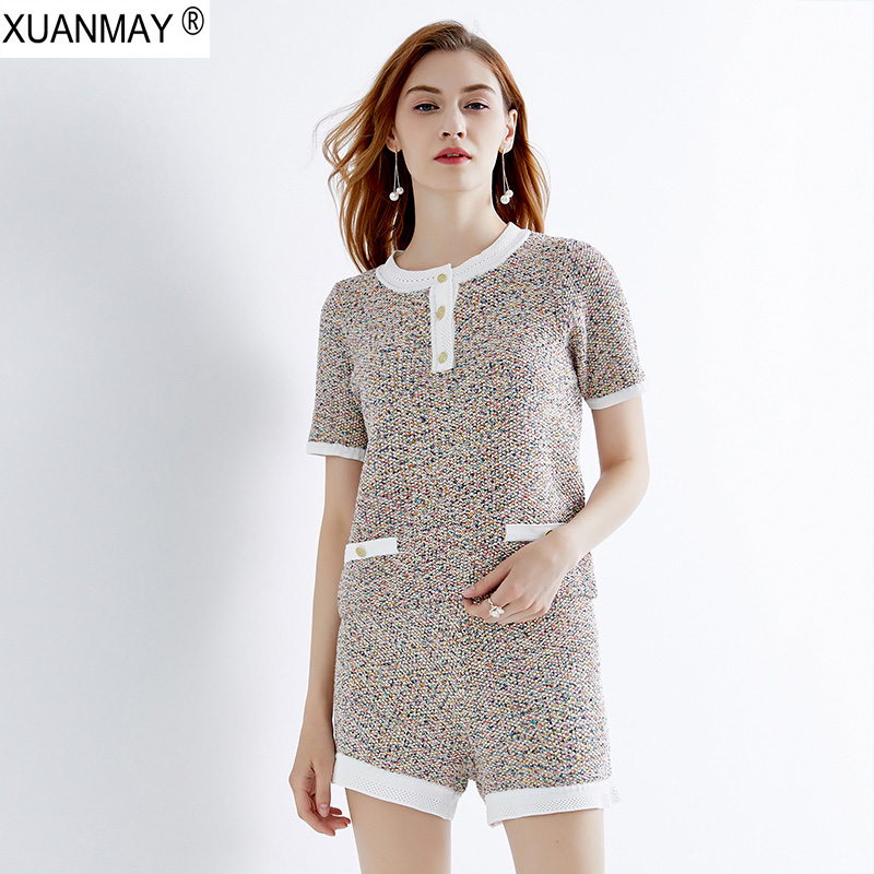 2019 Women s Brand design wild Knit Sweater and Shorts Up and Down Two piece Elegant