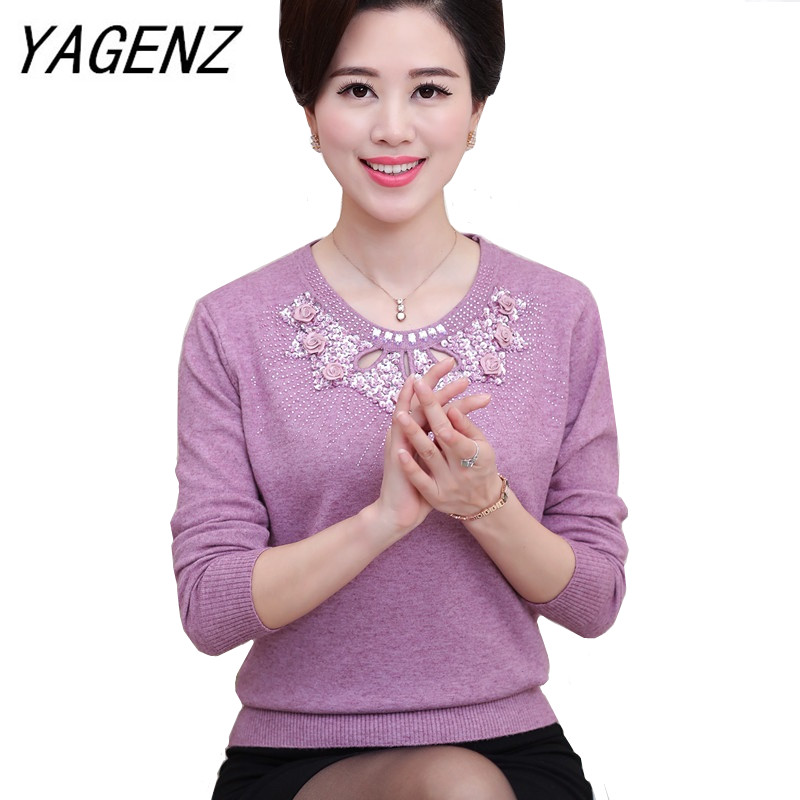 Middle-aged And Old Women Pullover Sweater Autumn Winter Loose O Neck Long-sleeve Warm Sweater Plus Size Casual Knitwear Top 4XL