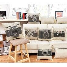 Free Shipping Vintage Camera Cotton Linen Pillowcase 45cm 45cm font b Home b font Decorative Seat