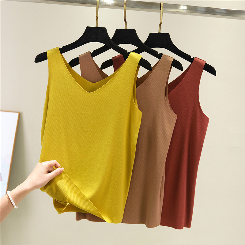Women Sexy Cotton Comfort Vest Tops V Collar Ladies Undershirts Tanks amp Camis Sleeveless Knitted D33 in Tank Tops from Women 39 s Clothing