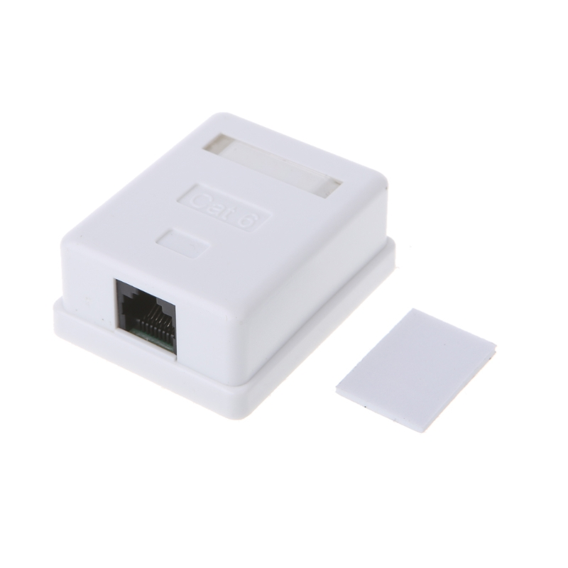 Cat6 RJ45 8P8C UTP Unshielded Single Port Desktop Mount Box #328 title=