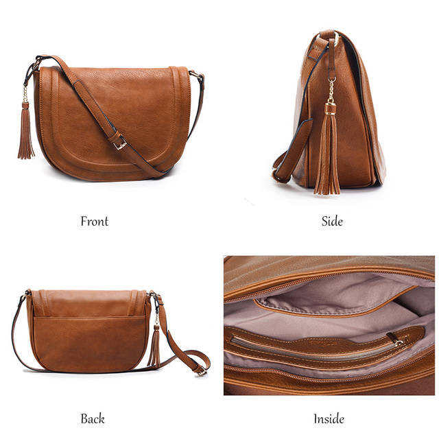 AMELIE GALANTI Large Saddle Bag Crossbody Bags for Women Brown Flap Purses with Tassel Over the Shoulder Long Strap 4