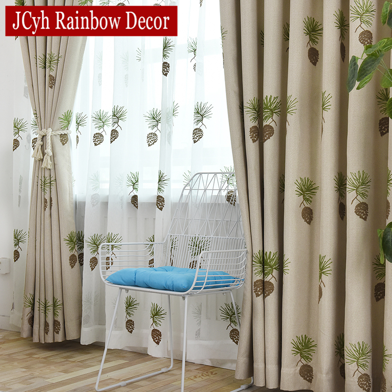 Pine Cone Gray Linen Blackout Curtains For Living Room Embroidered Window Bedroom Tende Rideaux