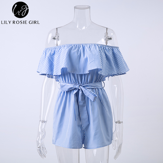 Lily Rosie Girl Blue Striped Off Shoulder Ruffles Playsuits Women Sexy Summer Beach Short Rompers Sashes Jumpsuits Overalls