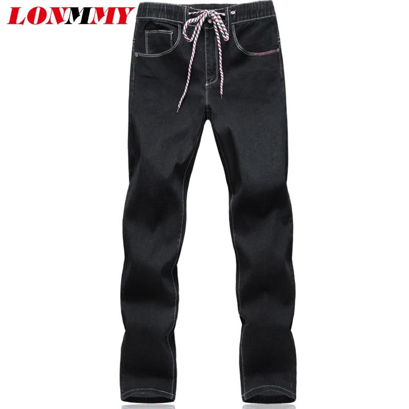 LONMMY 5XL 6XL Denim overalls men jeans Stretch drawstring trousers 65% cotton Cheap jeans mens Denim Blue black 2017 Autumn смартфон highscreen fest xl pro blue