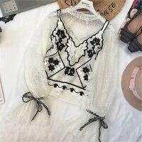 2018 Top Cotton Streetwear Chiffon Full Zanzea Blusas Korean European And American New Crochet Lantern Sleeve