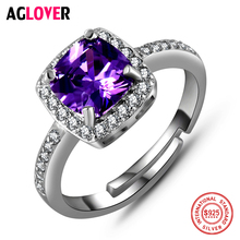 925 Silver AAA Amethyst Zircon Ring Woman's Fashion Charm 100% Sterling Silver Ring Feminine Jewelry thailand imports men s black zircon 925 sterling silver ring side face