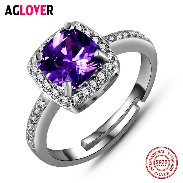 925 Silver AAA Amethyst Zircon Ring Woman's Fashion Charm 100% Sterling Silver R