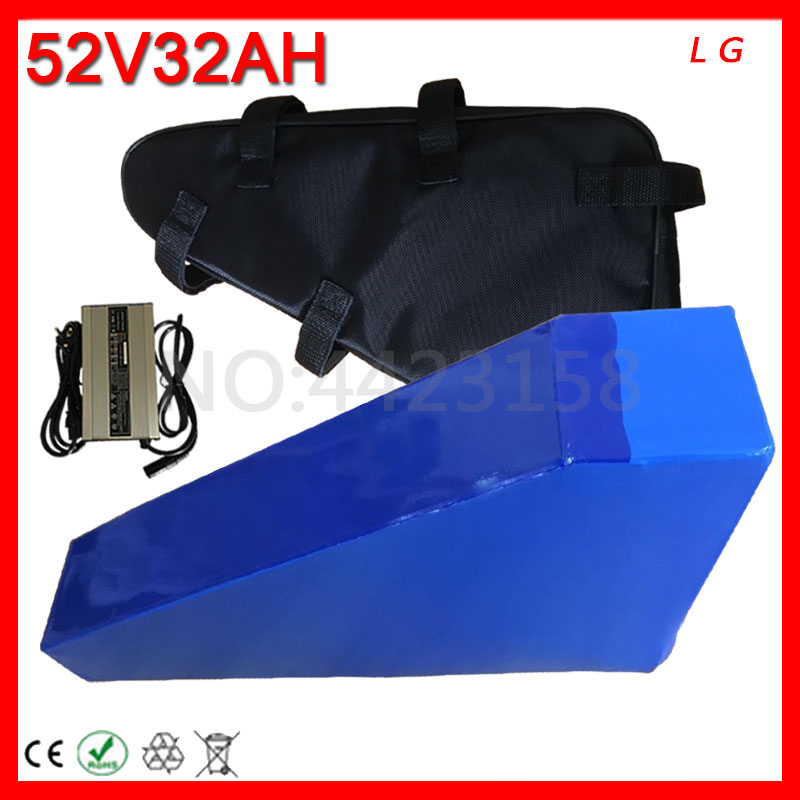 52v Triangle lithium Battery 52V 32AH Electric Bike Battery 52V 32AH Electric Scooter Battery Use LG Cell For 52V 2000W Motor