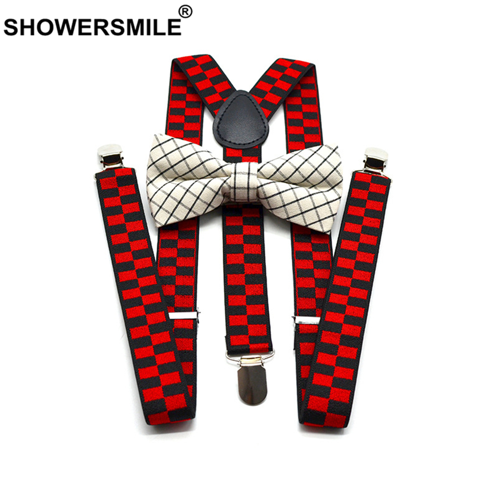 SHOWERSMILE Suspensorio Vintage Women Mens Suspenders For Shirt Red Green Male Female Braces Suspender Pants With Bow Tie Set