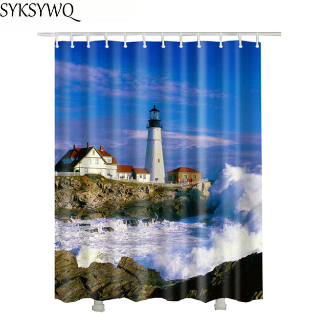 Sea Lighthouse Bathroom Shower Curtain Fabric Drop Shipping 2018 New Design  Cheap Shower Curtain 3d