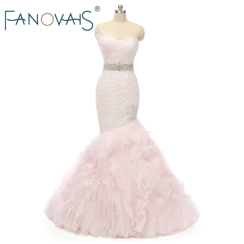 Pink Wedding Dresses 2019 Mermaid Tulle Bridal Gowns Ruffles Wedding Dress Vestido De Novuia Robe De Mariee with Beads Belt