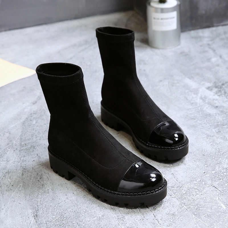 YeddaMavis Siyah Kadın Ayakkabı Kadın Çizmeler için Yeni Ince Streç Çorap yarım çizmeler Kadın Ayakkabı Bayan Ayakkabı Kadın Zapatos De Mujer