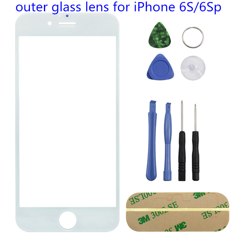 1PC Genuine New Front Screen for iPhone 6s Plus Top lcd Outer Glass Lens Cover Panel Replacement Part White/Black with Tool image