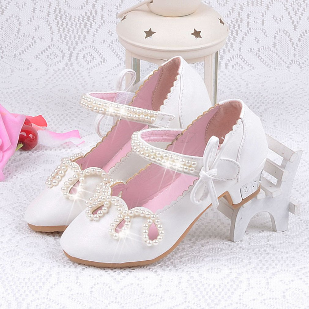 Elegant Kids Princess Sandals Imitation Pearl Girls Casual Shoes Summer Sandals Children Leather Shoes Girls Party Dance Shoes koovan kids dance shoes 2017 children s shoes cinderella princess polished diamond crystal heeled girls sandals jelly leather