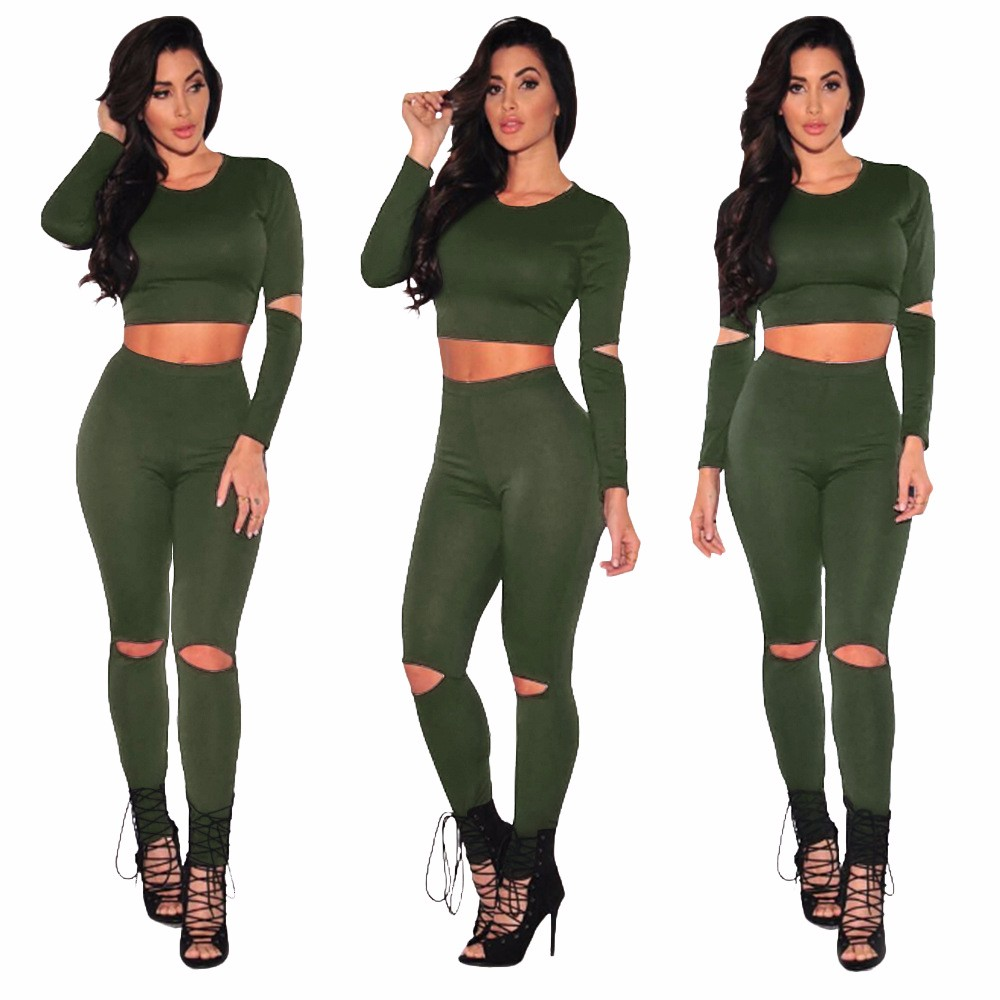 Sexy Two pieces Rompers Women Jumpsuit 2017 New Women Bodycon Jumpsuit O Neck Long Sleeve Fashion Club Bodysuit Bandage Jumpsuit 5