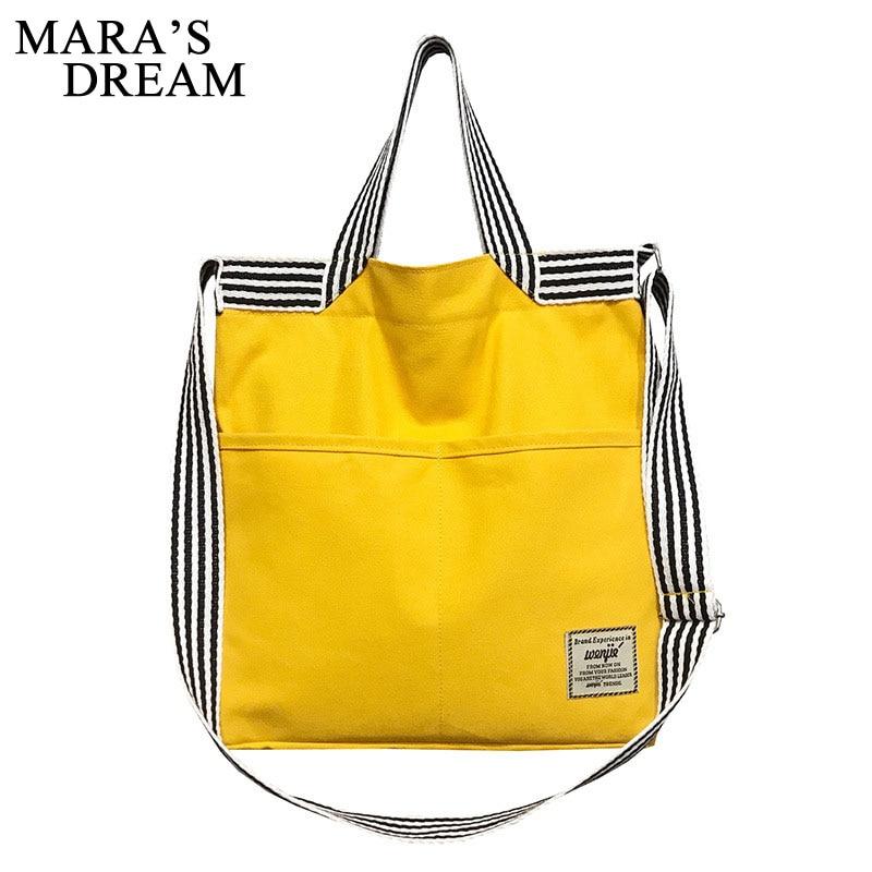 Mara's Dream 2019 Ladies Canvas Handbag New Striped Shoulder Canvas Bag Custom Fashion Casual Bag Shoulder Bag