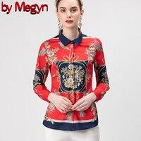 by Megyn Runway Designer 3XL Plus size Blouses Women's Long Sleeve Vintage Chiffon Print Shirt Fashion Tops Casual Red Blouse
