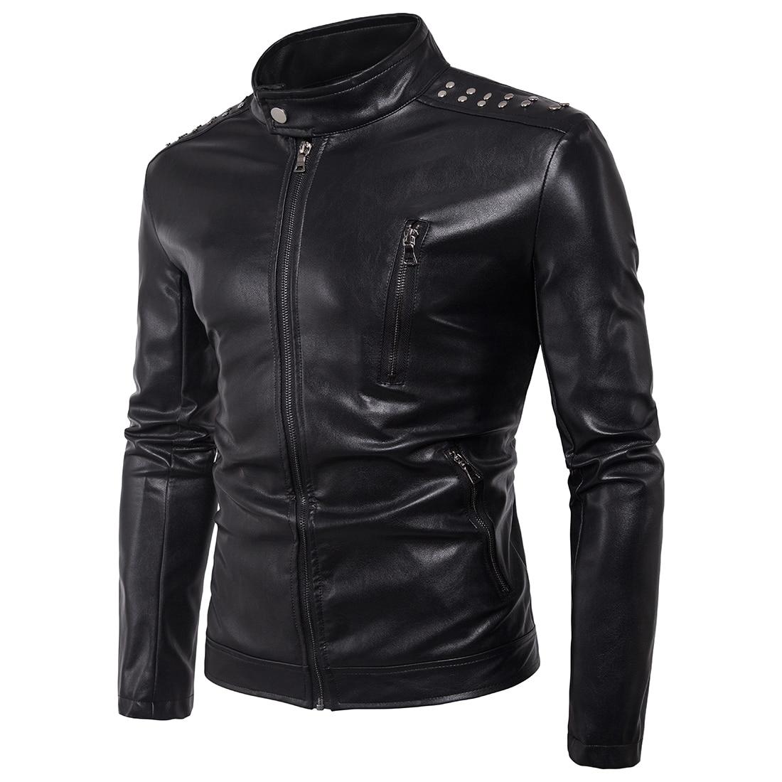 66f2862302 US $46.11 43% OFF|New Men 's Motorcycle Shoulder Rivet Decorative leather  jackets men slim leather jacket brand Casual Coats Overcoats zipper-in Faux  ...