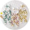 2017 del otoño del resorte muchachas de los muchachos de los mamelucos niños conejo de dibujos animados con capucha impreso verde amarillo rosa ropa de niños ropa casual 0-2 T