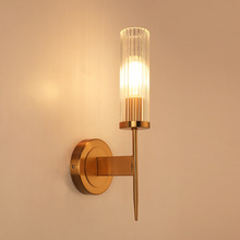 цены 7W LED Wall Sconce Light Fixture E27 Bulb Bedside Lamp Glass Lampshade American Style Living Room Hotel Bronze shell