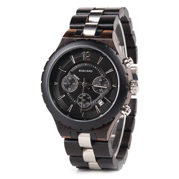 BOBO BIRD Men's Luxury Elegant Metal Chronograph Auto Date Wooden Quartz Watches 1
