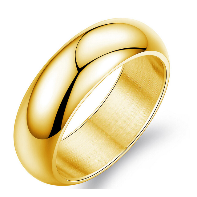 gold color ring men women gift wholesale 7mm wide classic gold wedding bands rings for - Gold Wedding Rings For Men