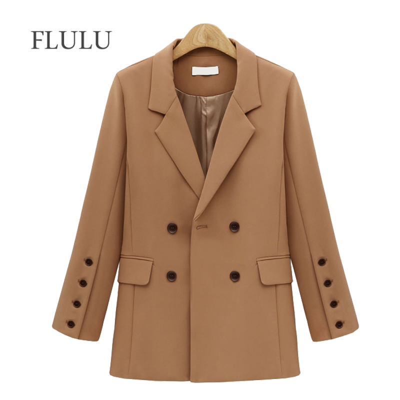 Flulu Autumn Winter Suit Blazer Women New Casual Double Breasted Pocket Women Jackets Elegant Long Sleeve Blazer Outerwear