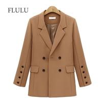 FLULU Autumn Winter Suit Blazer Women 2018 New Casual Double Breasted Pocket Women Jackets Elegant Long Sleeve Blazer Outerwear