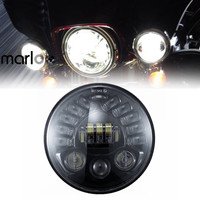 Marloo Motorcycle 7 Round Daymaker LED Projectior Adjust Turn Signal Headlight Fit Harley Touring Trike Softail Models