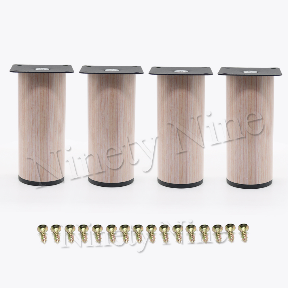 4Pcs Wood Grain Durable Stainless Steel Cylindrical Furniture Legs Sofa Table Cabinet Feet 64*80mm 64*90mm 64*120mm