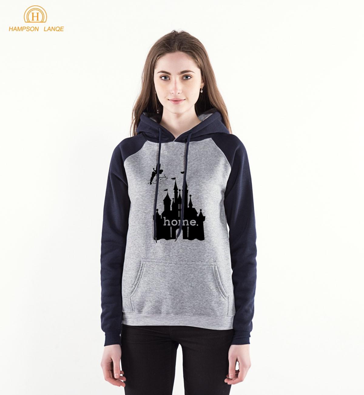 2018 Spring Autumn Women Pullovers Home House Castle Print Casual Hoodies Sweatshirts Long Sleeve Raglan Hoodie For Adult S-XXL