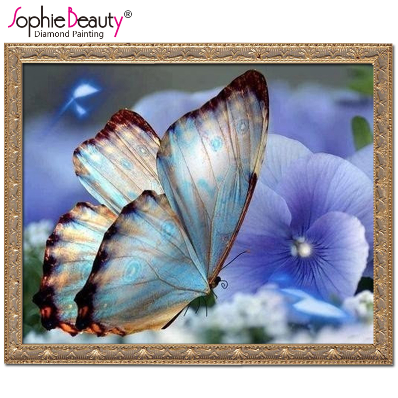 Resin Products Diy Diamond Painting Diamond Mosaic Beadwork Embroidery Gift Making Tools Diamond Pattern Blue Flowers Butterfly