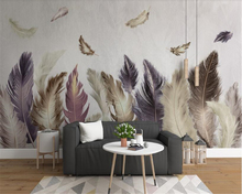 beibehang Classic three-dimensional ultra-sliding wall paper Modern minimalist gold feather 3d wallpaper decorative painting
