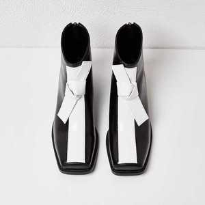 Image 2 - كرازينغ وعاء جلد طبيعي ساحة تو ميد الكعوب مختلط اللون ربطة فراشة حفل زفاف الوظيفي مكتب سيدة حذاء من الجلد L16