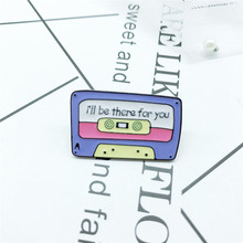 New fashion purple cassette I will be there for your brooch cartoon recording badge commemorating denim jewelry