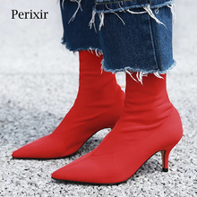 Perixir 2019 New Women Sock Boots Pointed Toe Elastic High Boots Slip On High Heel Ankle Boots Women  sexy Pumps Stiletto Botas 2017 spring sexy new women boots fretwork heels ankle boots pointed toe high heeled boots booties stretchy sock boots slip on 42