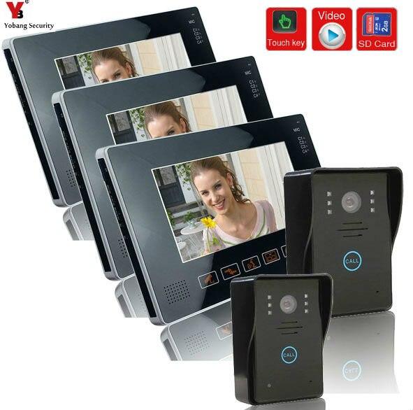 Yobangsecurity 9 дюйм(ов) проводной видео Дверные звонки дверной звонок, непромокаемые телефон двери с видео Запись и phototaking Функция