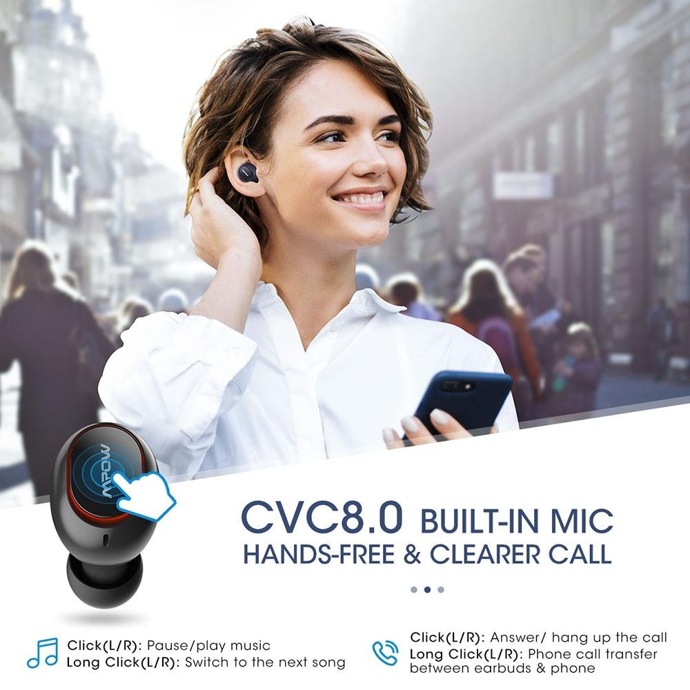 Mpow T5/M5 TWS Bluetooth 5.0 Earphone 3D Stereo Wireless Handsfree Earphones AptX Earbuds IPX7 Waterproof With 36 Hours Playtime