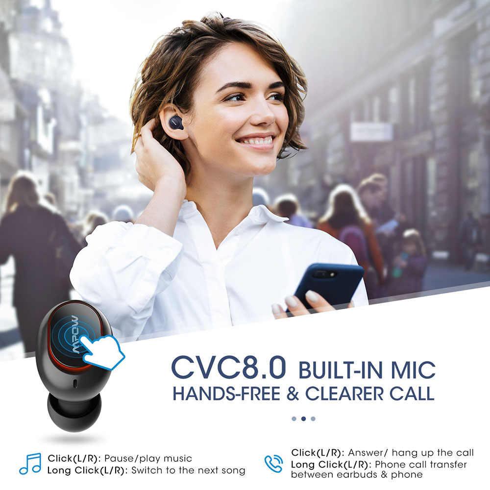 Mpow T5/M5 TWS Bluetooth 5.0 słuchawki 3D Stereo bezprzewodowe słuchawki do zestawu głośnomówiącego AptX słuchawki douszne IPX7 wodoodporne z 36 godzinami odtwarzania