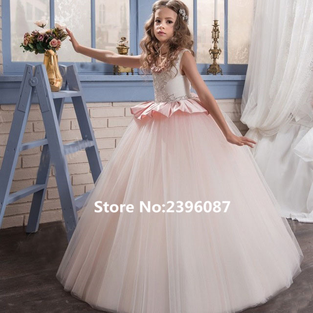 Hot Pink Tulle Ruched Ball Gown Princess   Flower     Girl     Dresses   Sleeveless O-Neck First Communion   Dress   Vestidos de comunion 2019