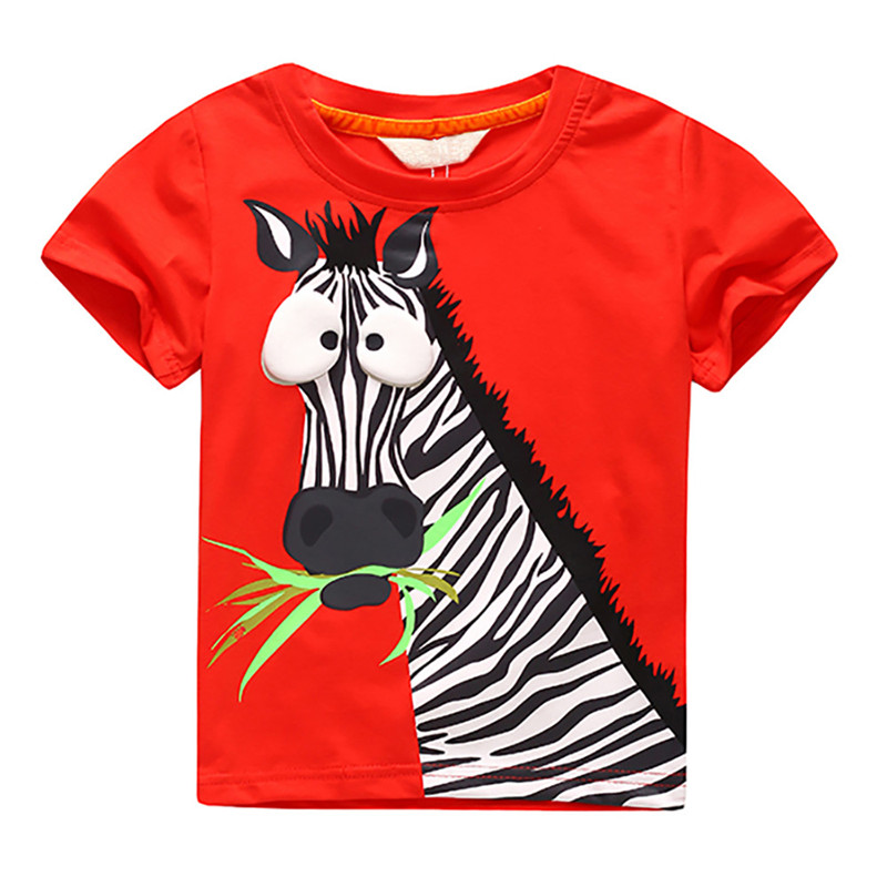 New Summer T-shirts for Boys Tee Shirt Garcon Zebra Pattern Children/'s Top