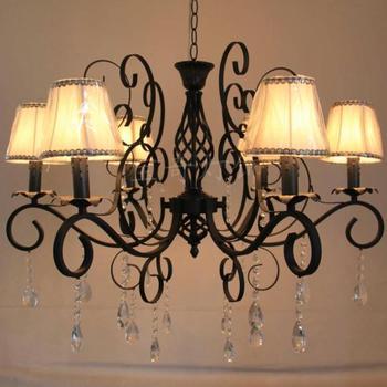 Подвесной светильник, модная тканевая крышка лампы, Хрустальная кованая железная свеча, лампа для гостиной, столовой, осветительные прибор...